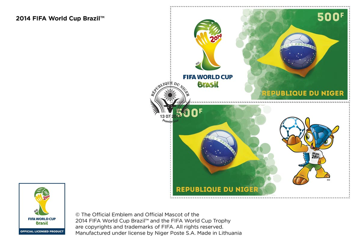 FIFA Football - Brazil 2014 - Issue of Niger postage stamps