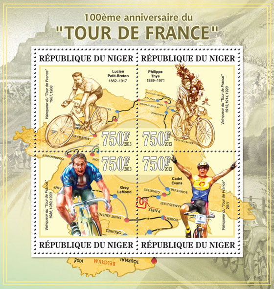 Tour de France, (Lucien Petit-Breton) - Issue of Niger postage stamps