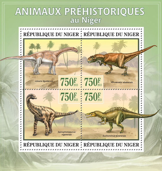 Prehistoric Animals, (Jobaria tiguidensis) - Issue of Niger postage stamps