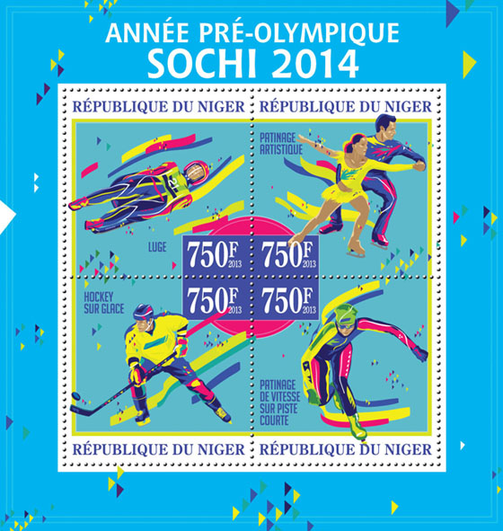 Sochi 2014, (Luge)  - Issue of Niger postage stamps