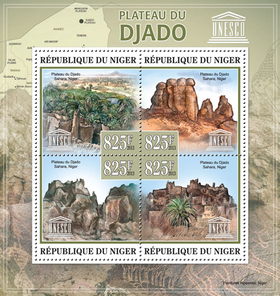 Plateau Djado, (Plateau Djado Sahara, Niger), UNESCO - Issue of Niger postage stamps