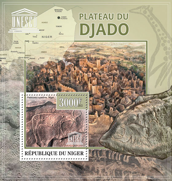 Plateau Djado, (Cave paintings, Niger), UNESCO - Issue of Niger postage stamps