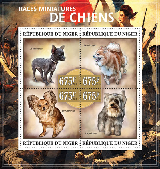 Miniature breeds of dogs - Issue of Niger postage stamps