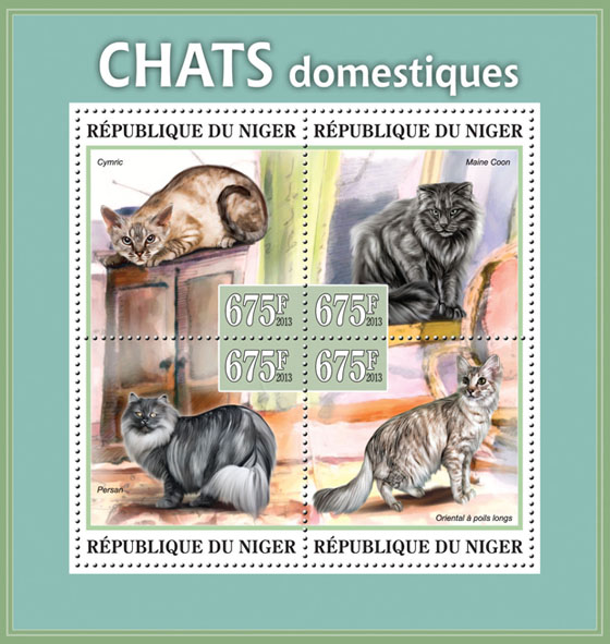 Domestic cats - Issue of Niger postage stamps
