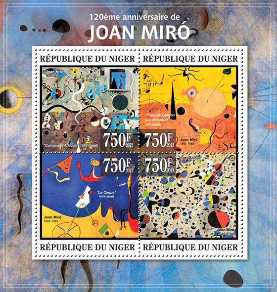 Joan Miro - Issue of Niger postage stamps