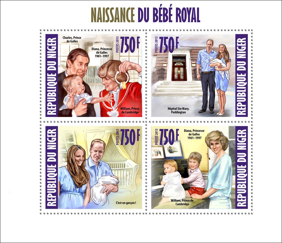 Royal Baby Prince George Alexander Louis - Issue of Niger postage stamps