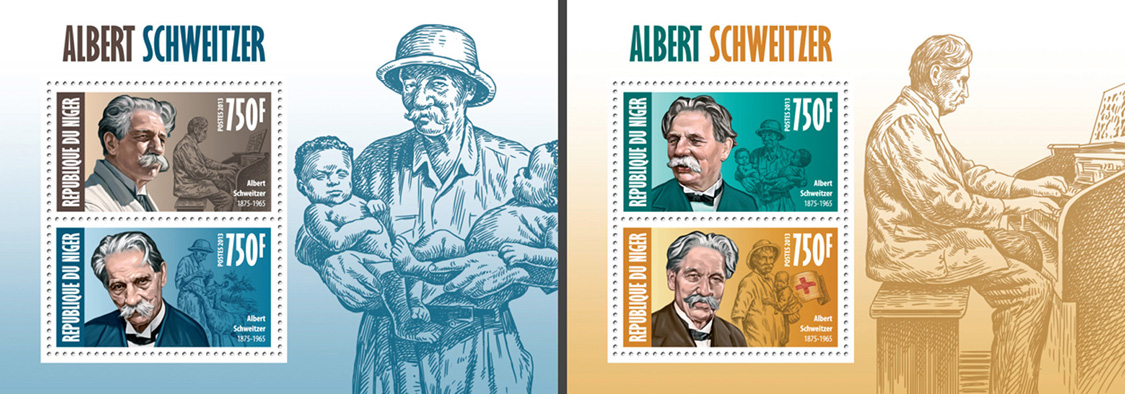 Alber Schweitzer 2 collective souvenir sheets - Issue of Niger postage stamps