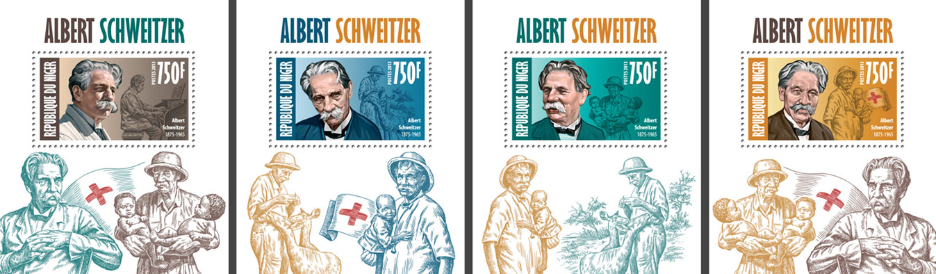 Alber Schweitzer 4 deluxe souvenir sheets - Issue of Niger postage stamps