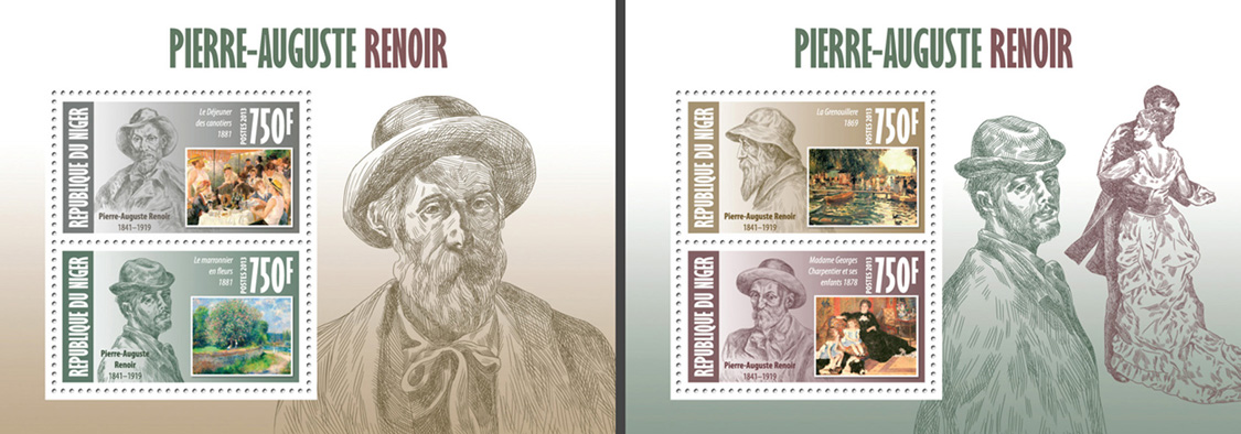 Auguste renoir 2 collective souvenir sheets - Issue of Niger postage stamps