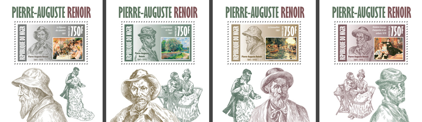Auguste renoir 4 deluxe souvenir sheets - Issue of Niger postage stamps