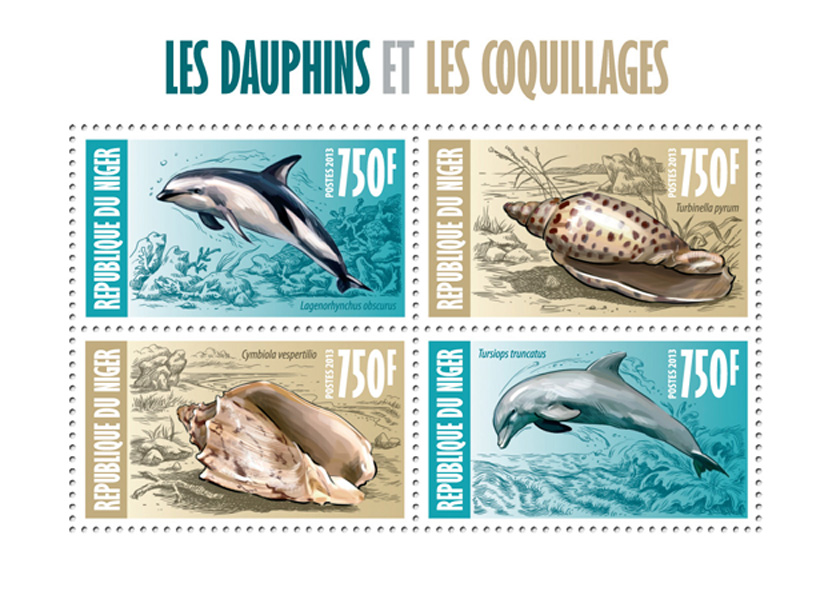 Dolphins and shells - Issue of Niger postage stamps