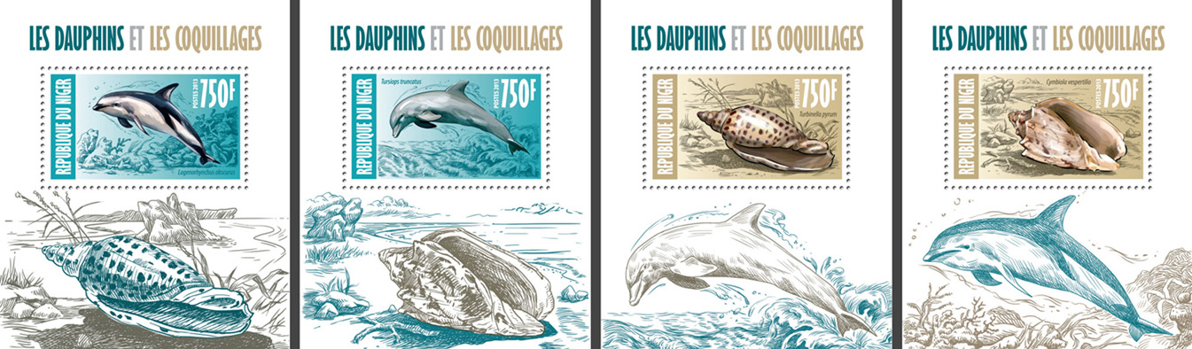 Dolphins and shells 4 deluxe souvenir sheets - Issue of Niger postage stamps