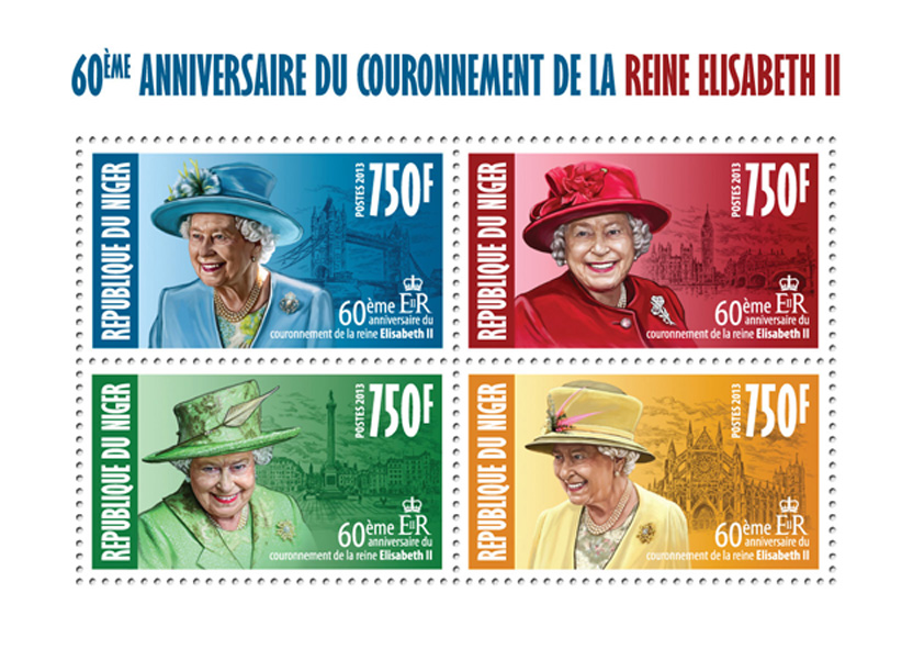 Queen Elizabeth II (60th Anniversry of Corrronation) - Issue of Niger postage stamps