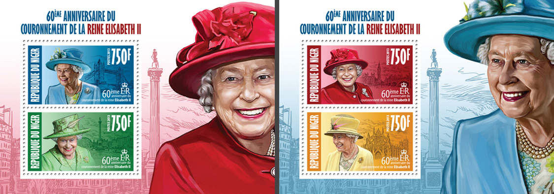 Queen Elizabeth II (60th Anniversry of Corrronation) 2 collective souvenir sheets - Issue of Niger postage stamps