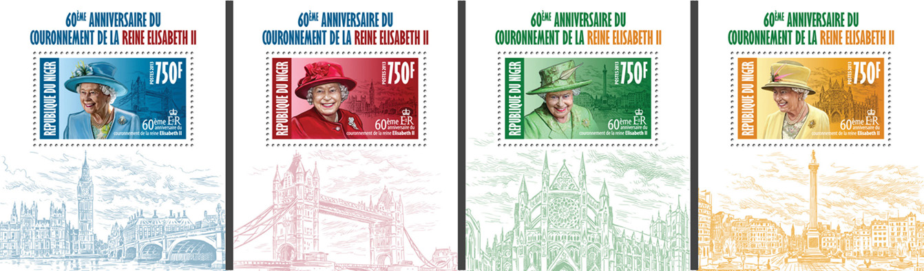 Queen Elizabeth II (60th Anniversry of Corrronation) 4 deluxe souvenir sheets - Issue of Niger postage stamps
