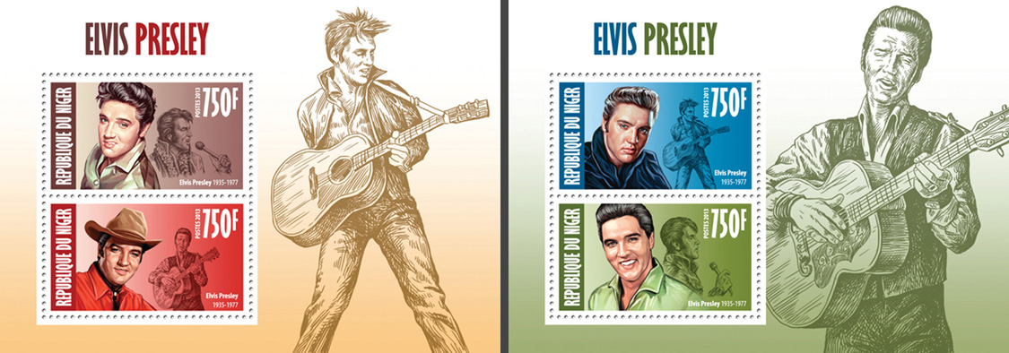 Elvis Presley 2 collective souvenir sheets - Issue of Niger postage stamps