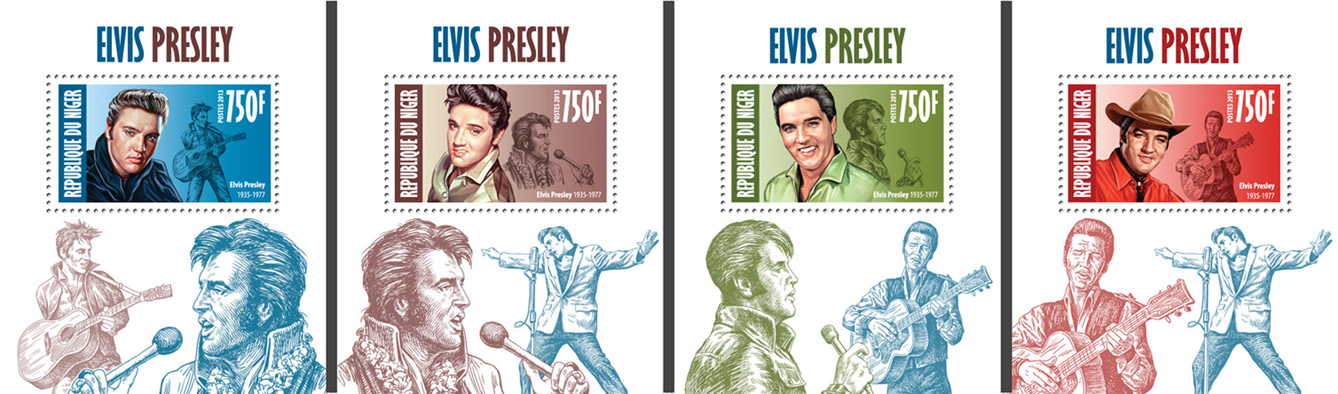 Elvis Presley 4 deluxe souvenir sheets - Issue of Niger postage stamps