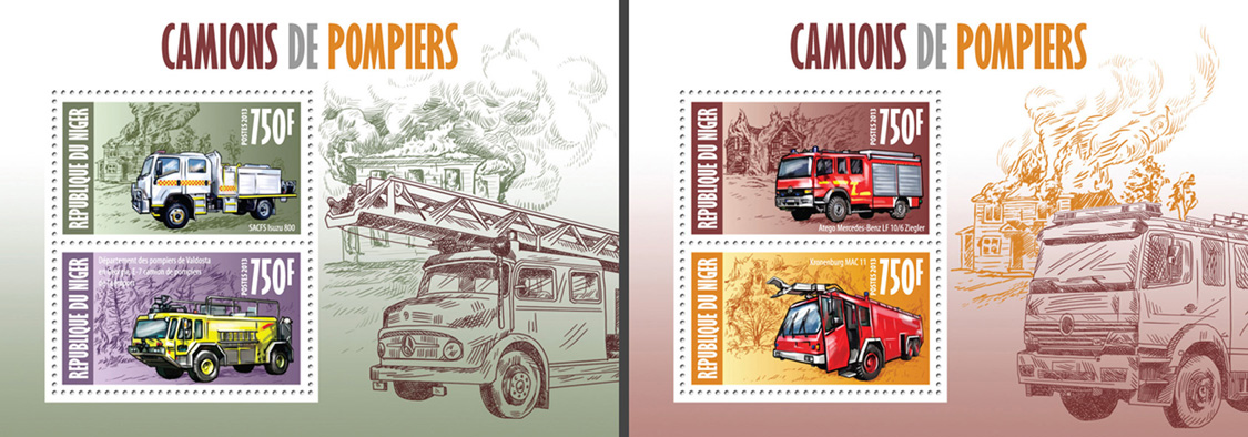 Fire engines 2 collective souvenir sheets - Issue of Niger postage stamps