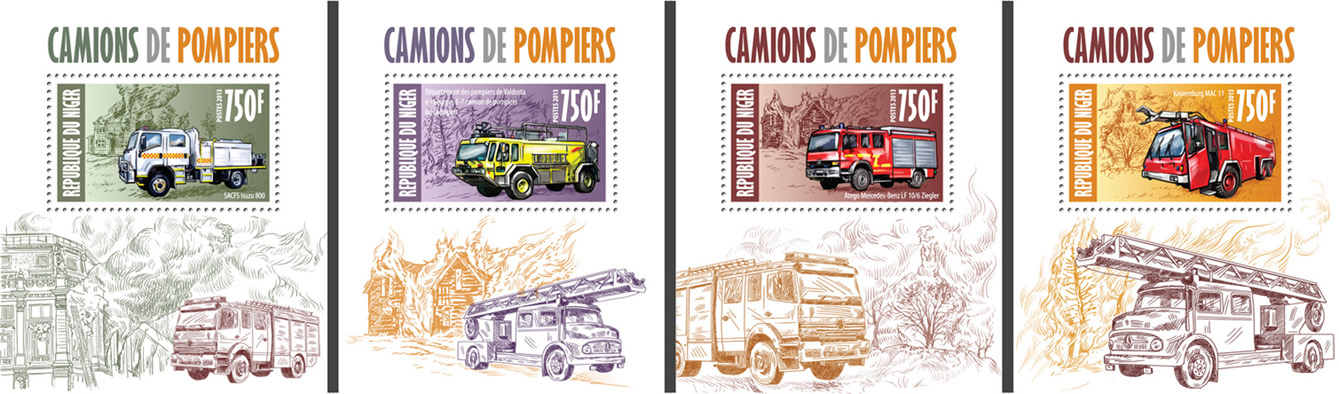 Fire engines 4 deluxe souvenir sheets - Issue of Niger postage stamps