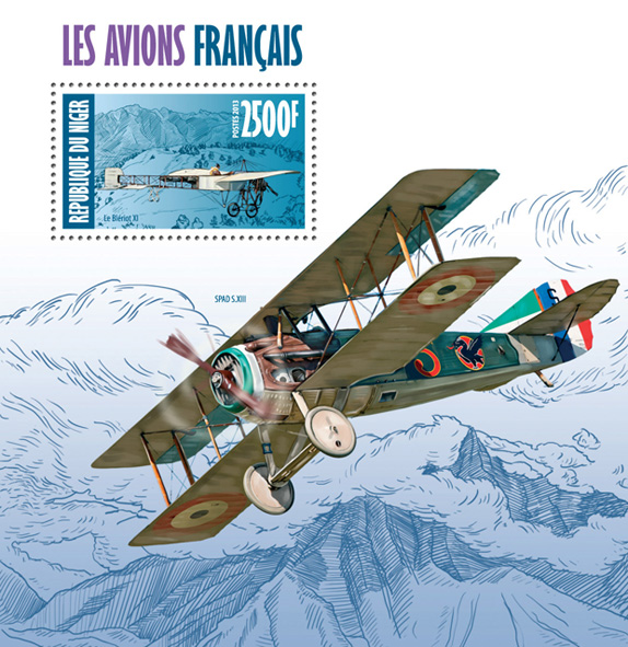 French aircrafts - Issue of Niger postage stamps