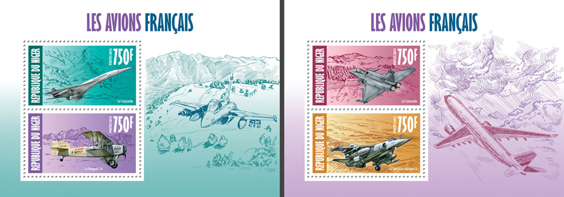 French aircrafts 2 collective souvenir sheets - Issue of Niger postage stamps