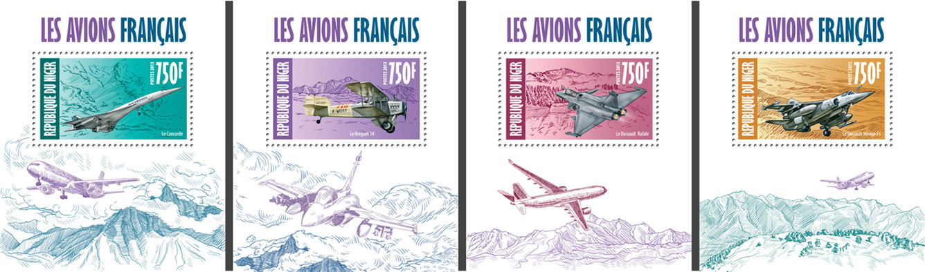 French aircrafts  4 deluxe souvenir sheets - Issue of Niger postage stamps