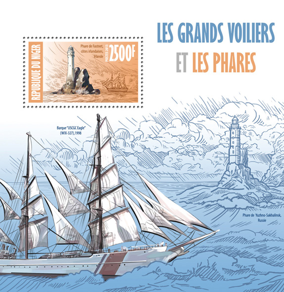 Sailing ships and lighthouses - Issue of Niger postage stamps