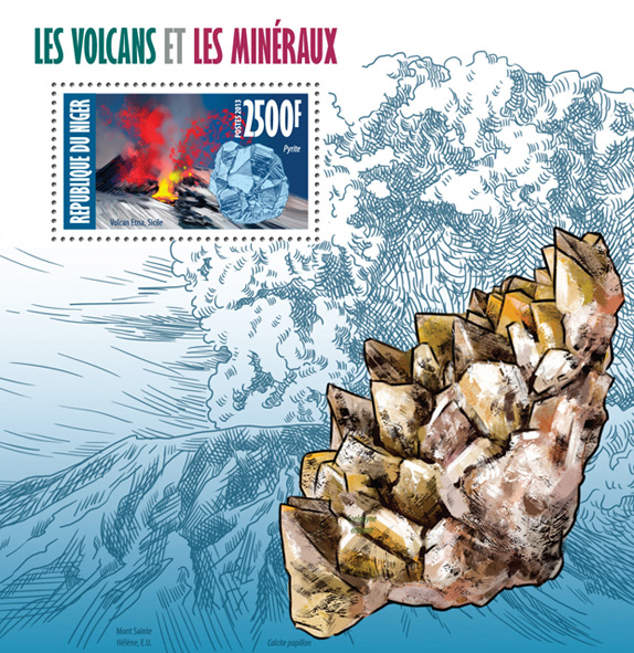 Volcanoes and minerals - Issue of Niger postage stamps