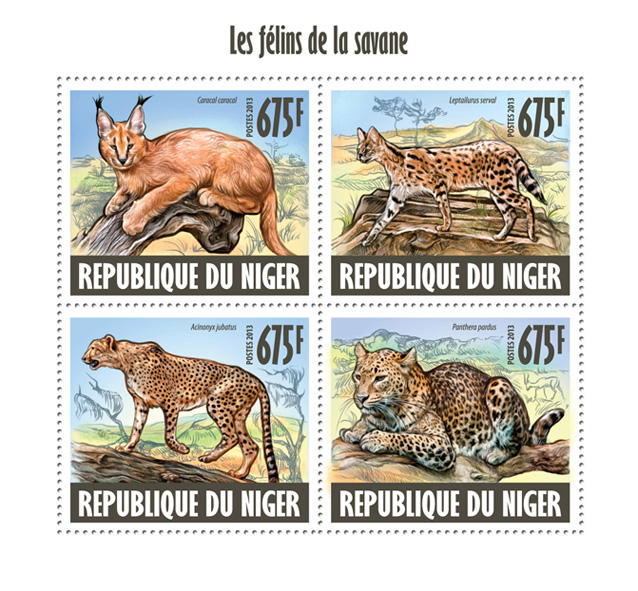 Savannah cats - Issue of Niger postage stamps