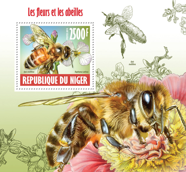 Flowers and bees - Issue of Niger postage stamps