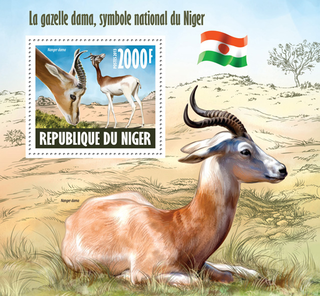Dama gazelle - Issue of Niger postage stamps