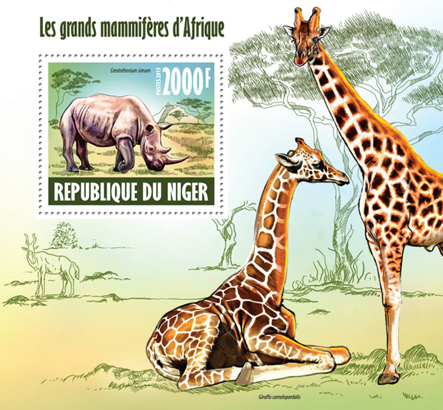 Large mammals - Issue of Niger postage stamps