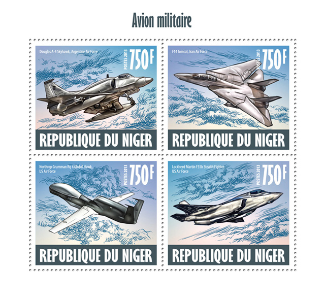 Military aircrafts - Issue of Niger postage stamps