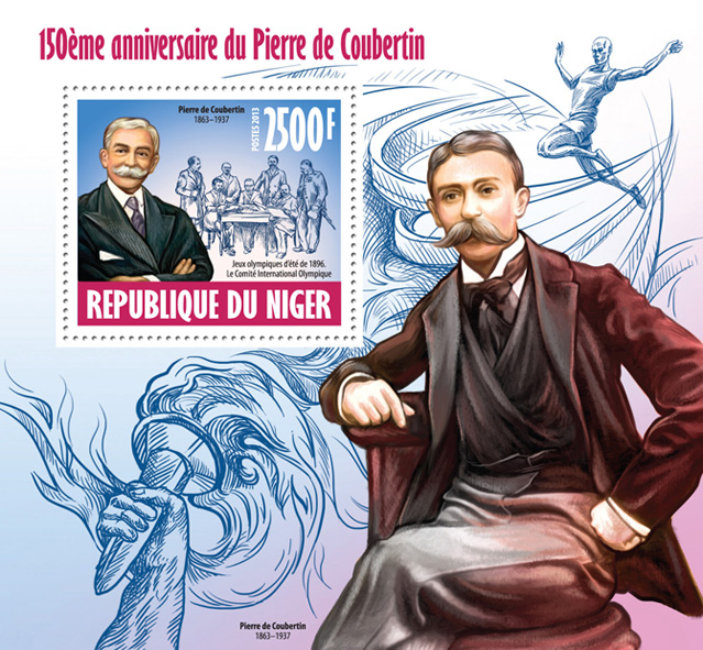 Pierre de Coubertin - Issue of Niger postage stamps