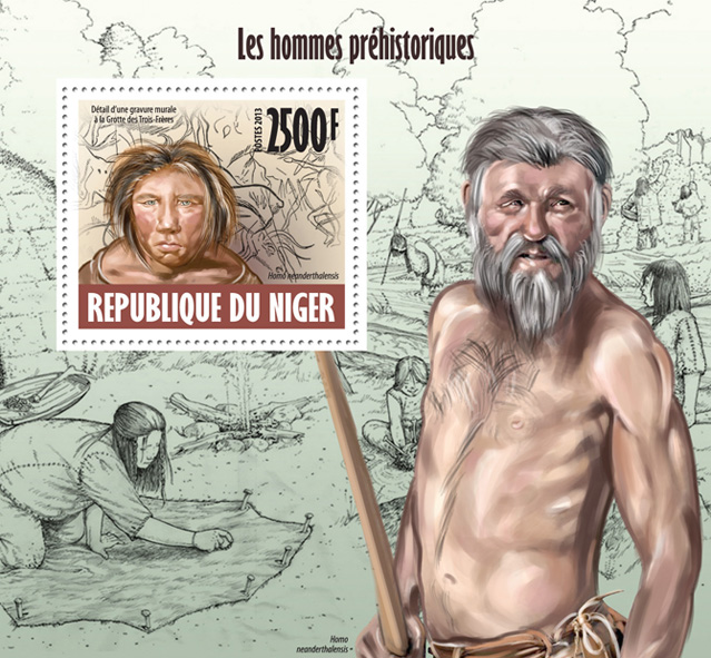 Prehistoric people - Issue of Niger postage stamps