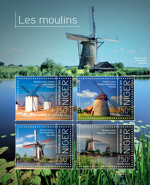 Windmills - Issue of Niger postage stamps