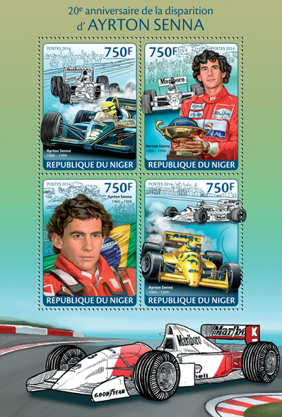Ayrton Senna - Issue of Niger postage stamps