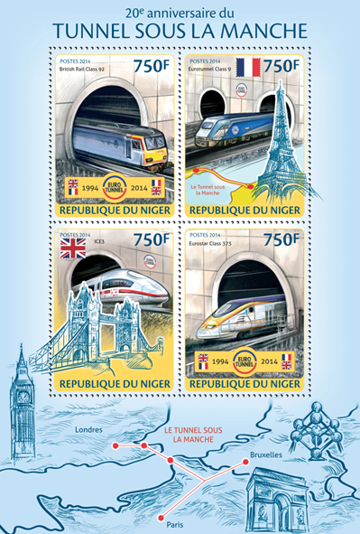 The Channel Tunnel - Issue of Niger postage stamps