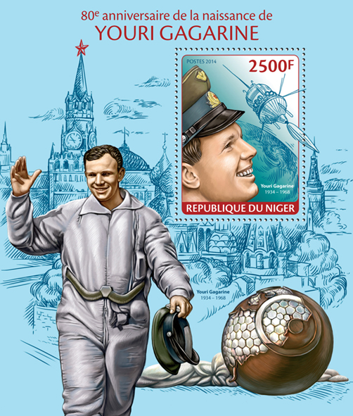 Youri Gagarine - Issue of Niger postage stamps