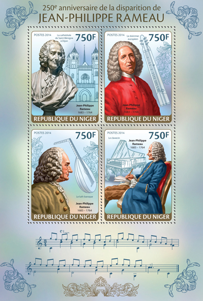 Jean - Philippe Rameau - Issue of Niger postage stamps