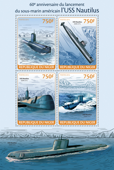 USS Nautilus (SSN-571) - Issue of Niger postage stamps