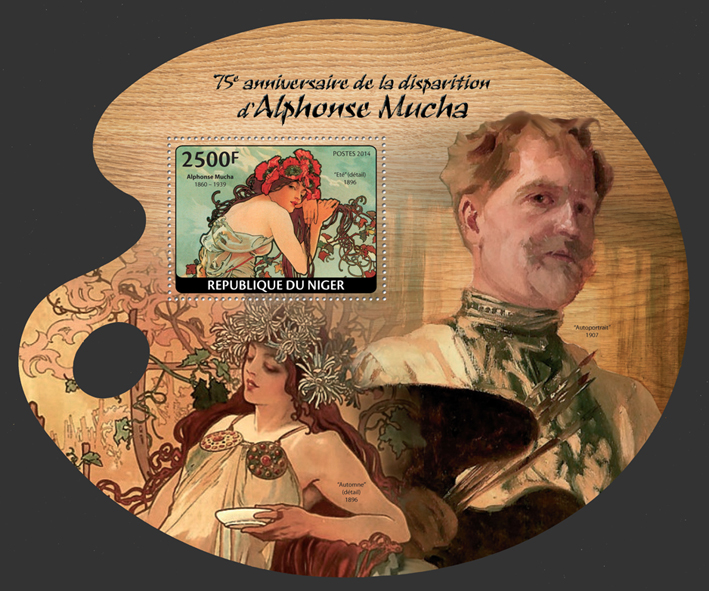 Alphonse Mucha - Issue of Niger postage stamps