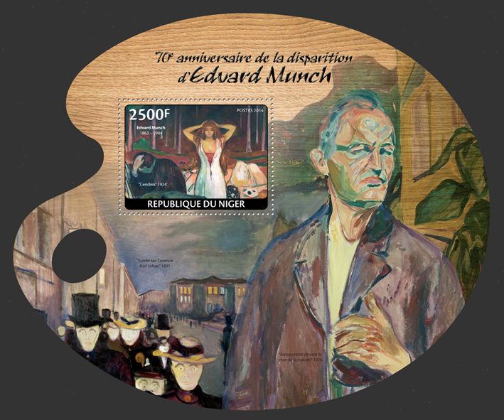 Edvard Munch - Issue of Niger postage stamps