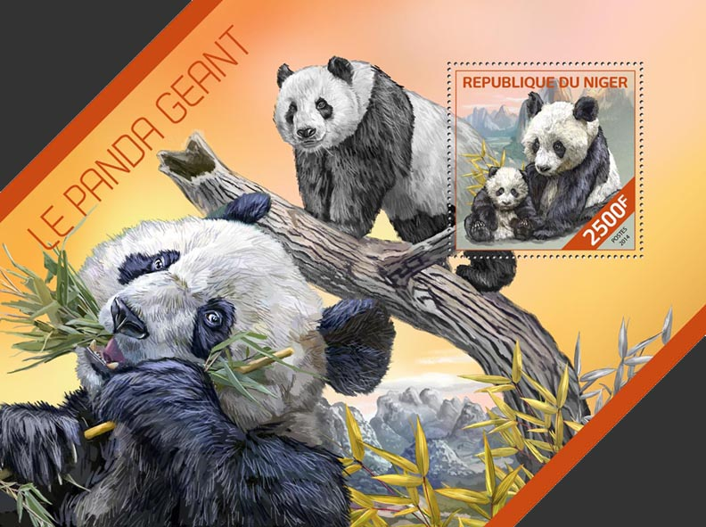 Giant panda - Issue of Niger postage stamps