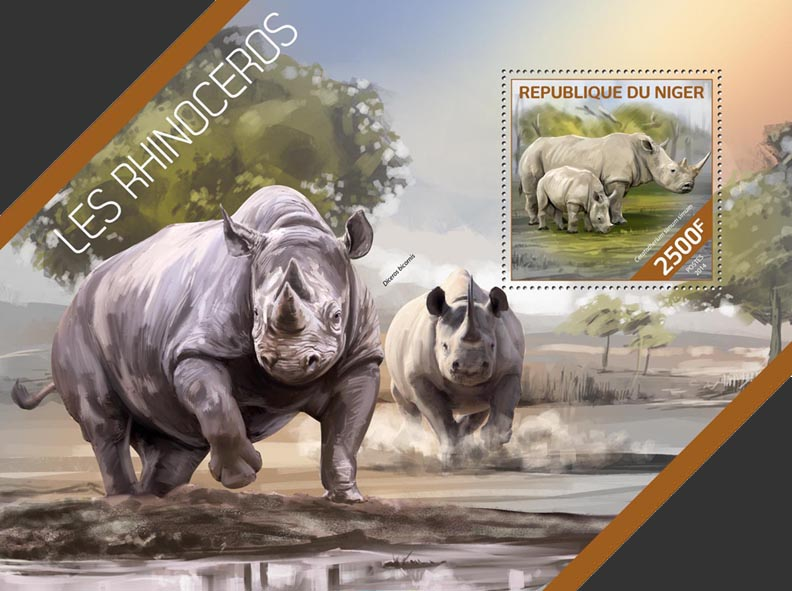 Rhinoceros - Issue of Niger postage stamps