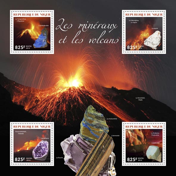 Minerals and volcanoes - Issue of Niger postage stamps