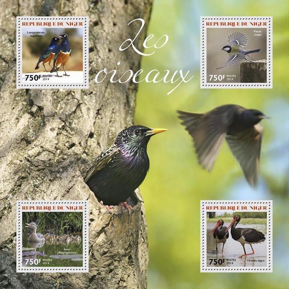 Birds - Issue of Niger postage stamps