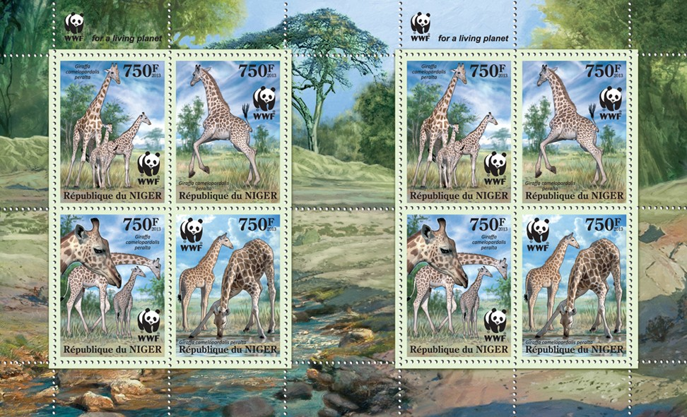 WWF - Giraffes - Issue of Niger postage stamps