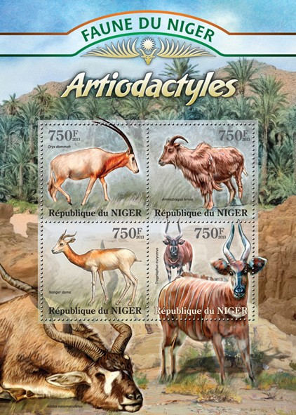 Hoofed animals - Issue of Niger postage stamps