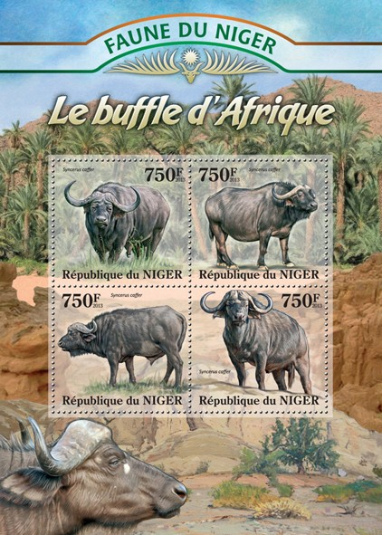 Africain Buffalo - Issue of Niger postage stamps